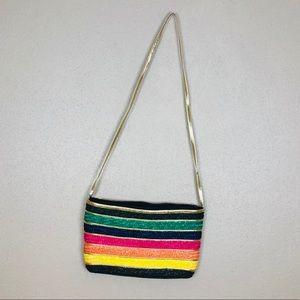 Vintage color block straw bag